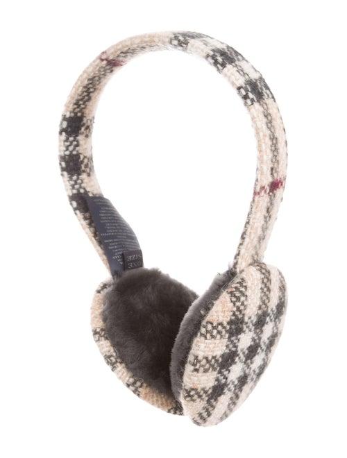 Burberry Merino Wool Nova Check Earmuffs Beige