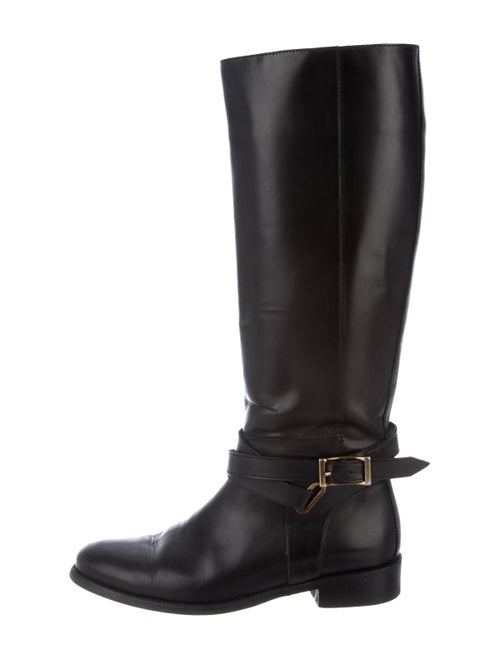 Burberry Leather Knee-High Boots Black