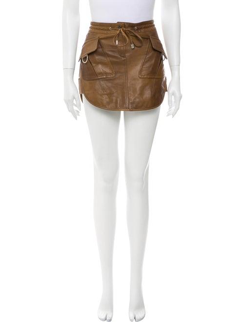 Burberry Leather Mini Skirt Brown