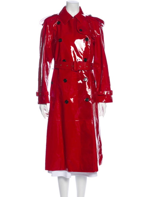 Burberry Leather Trench Coat Red