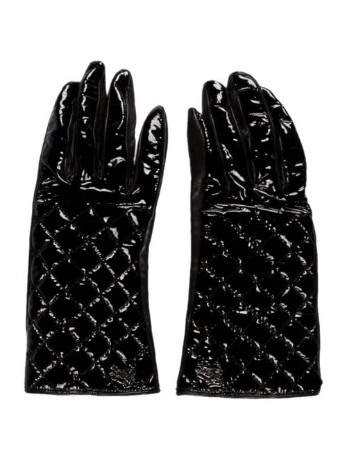 Burberry Quilted Patent Leather Gloves Black