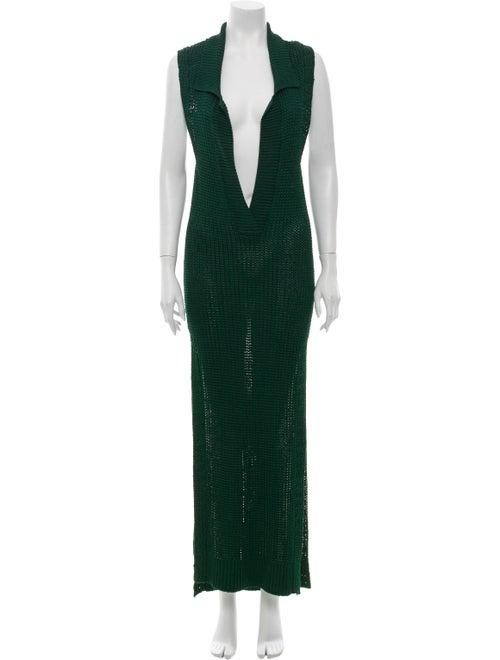 Burberry Knit Maxi Dress green
