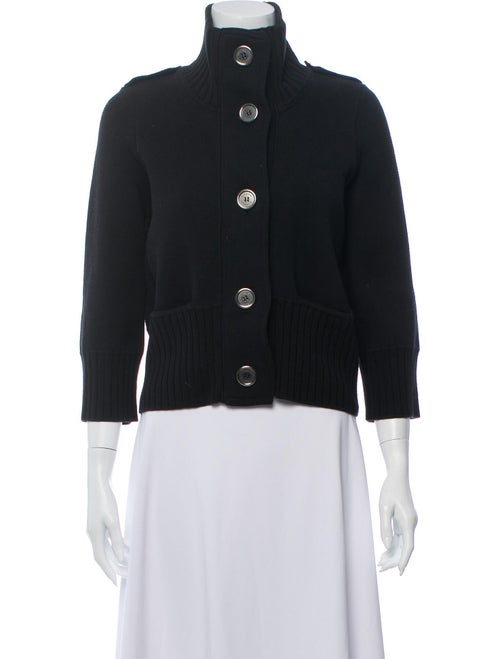 Burberry Mock Neck Knit Cardigan Black
