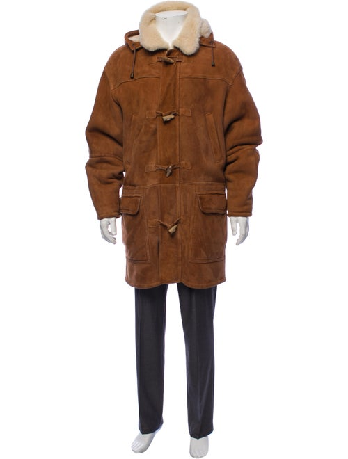Burberry Vintage Leather Duffel Coat brown