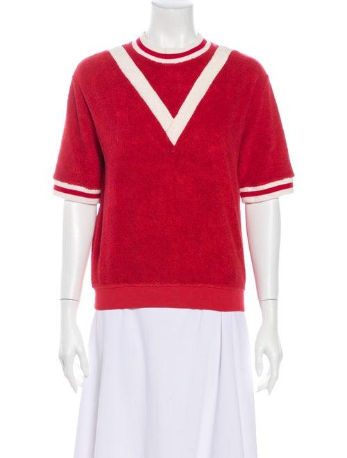 Burberry Crew Neck Short Sleeve Sweatshirt Red