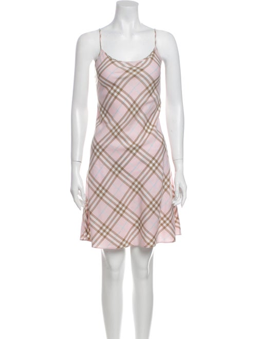 Burberry Plaid Print Knee-Length Dress Pink