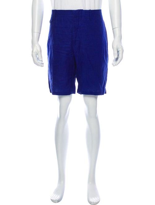 Burberry Linen Flat Front Shorts Blue