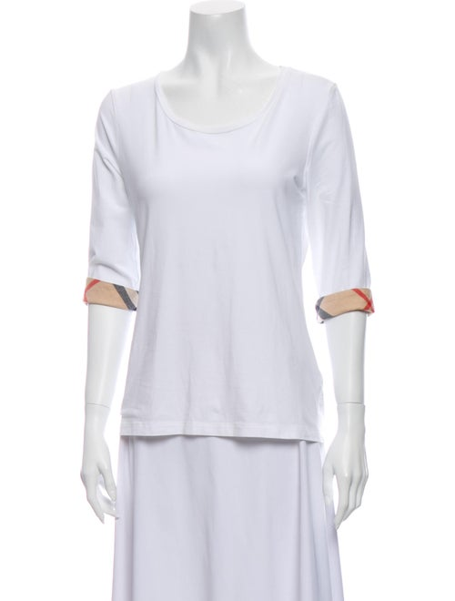Burberry Scoop Neck Short Sleeve T-Shirt White