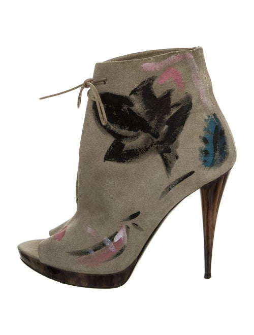 Burberry Suede Floral Print Boots