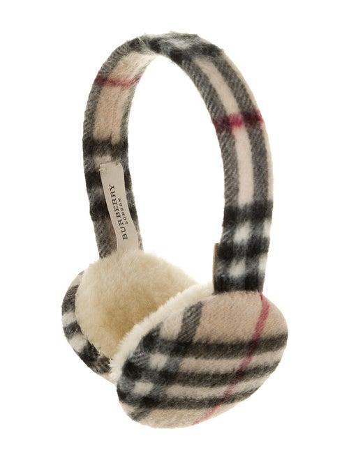 Burberry Shearling-Trimmed Cashmere Earmuffs Black