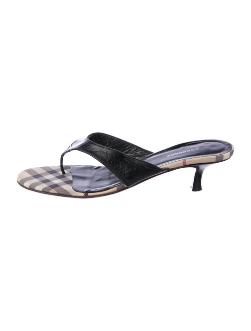 Burberry House Check Thong Sandals Leather Sandals