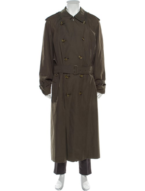 Burberry House Check Pattern Trench Coat Green