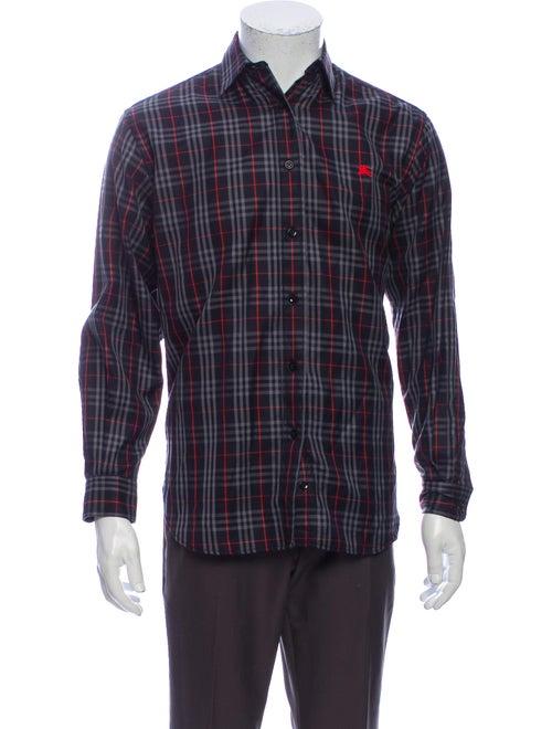 Burberry Plaid Print Long Sleeve Shirt Red