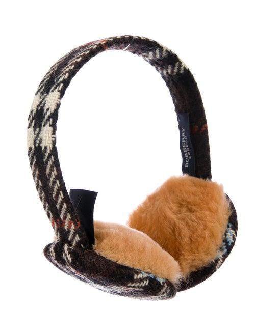 Burberry Wool Check Ear Muffs Brown