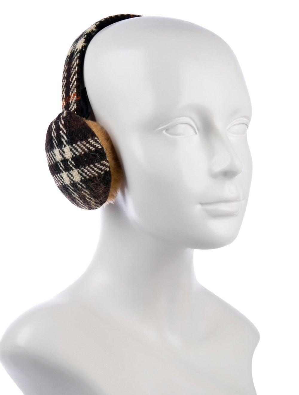 Burberry Wool Check Ear Muffs Brown - image 3