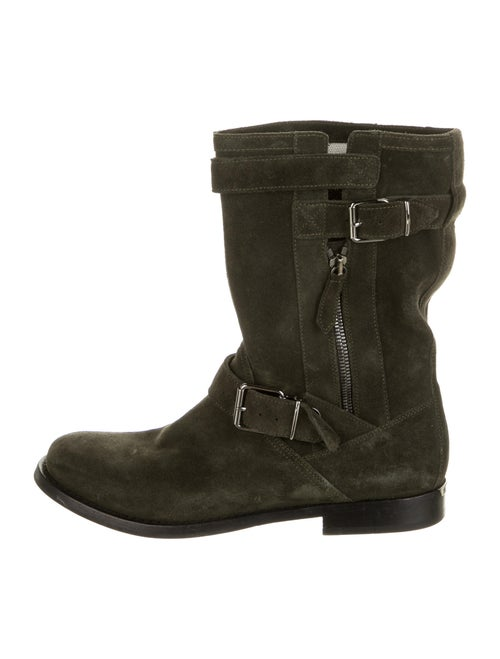 Burberry Suede Moto Boots Green
