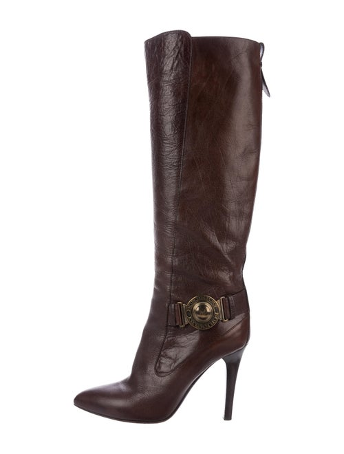 Burberry Leather Knee-High Boots Brown