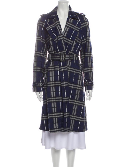 Burberry Plaid Print Trench Coat Blue