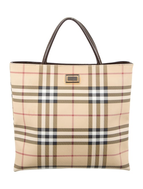 Burberry Leather-Trimmed Nova Check Tote multicolo