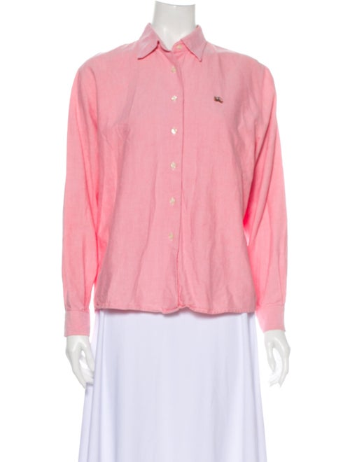 Burberry Vintage Long Sleeve Button-Up Top Pink