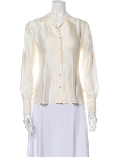 Burberry Vintage Silk Button-Up Top White