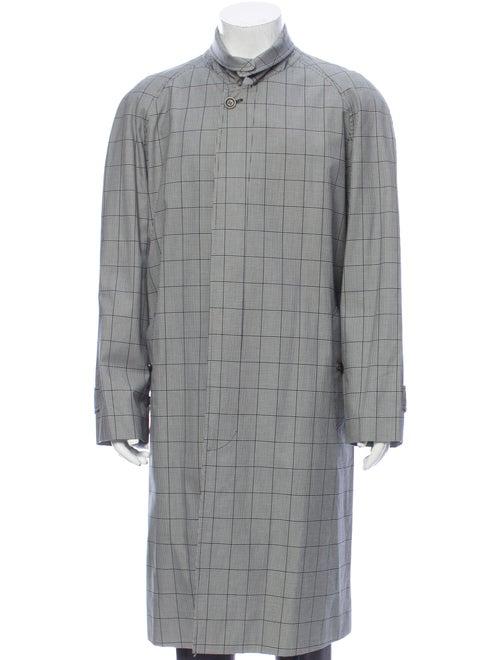 Burberry Houndstooth Print Coat Grey