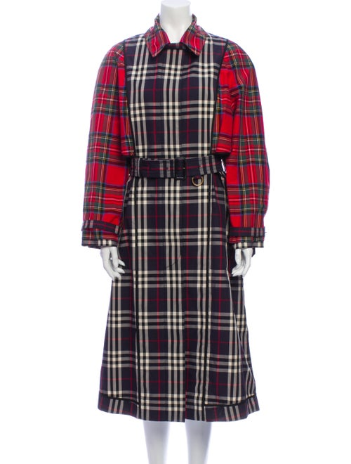 Burberry 2018 Plaid Print Trench Coat w/ Tags Blue