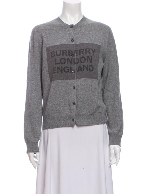 Burberry Cashmere Graphic Print Sweater Grey