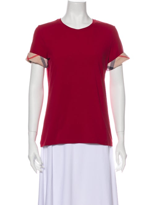 Burberry Crew Neck Short Sleeve T-Shirt Red
