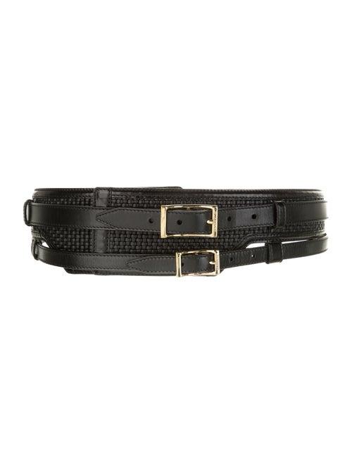 Burberry Leather Wide Belt Black
