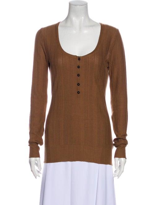 Burberry Silk Scoop Neck Top Brown