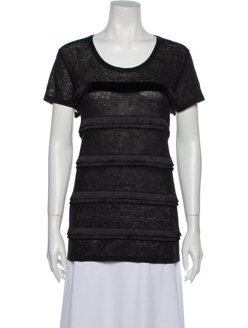 Burberry Linen Scoop Neck T-Shirt Black