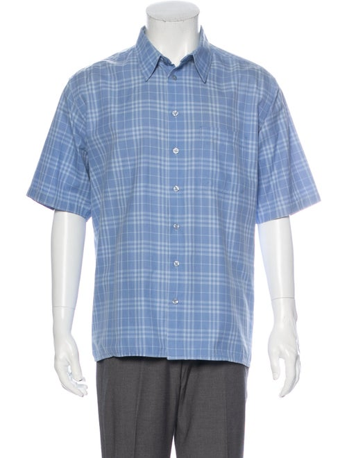 Burberry Plaid Short Sleeve Plaid Print Shirt Blue