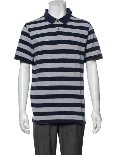 Burberry Striped Striped Polo Shirt Blue