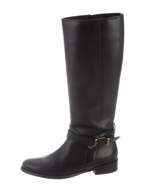 Burberry Leather Riding Boots Black