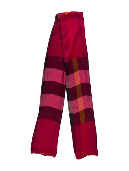 Burberry Silk Plaid Print Scarf Red