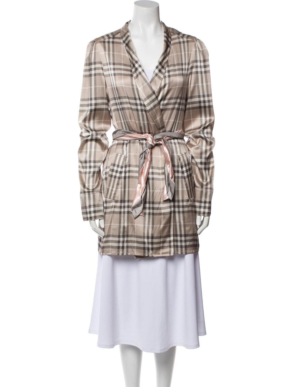 Burberry Silk Plaid Print Robe - image 1