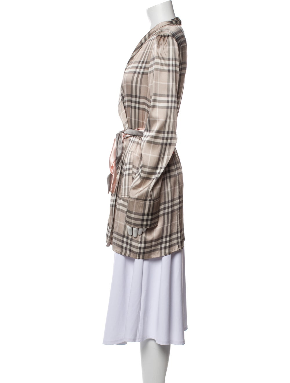 Burberry Silk Plaid Print Robe - image 2