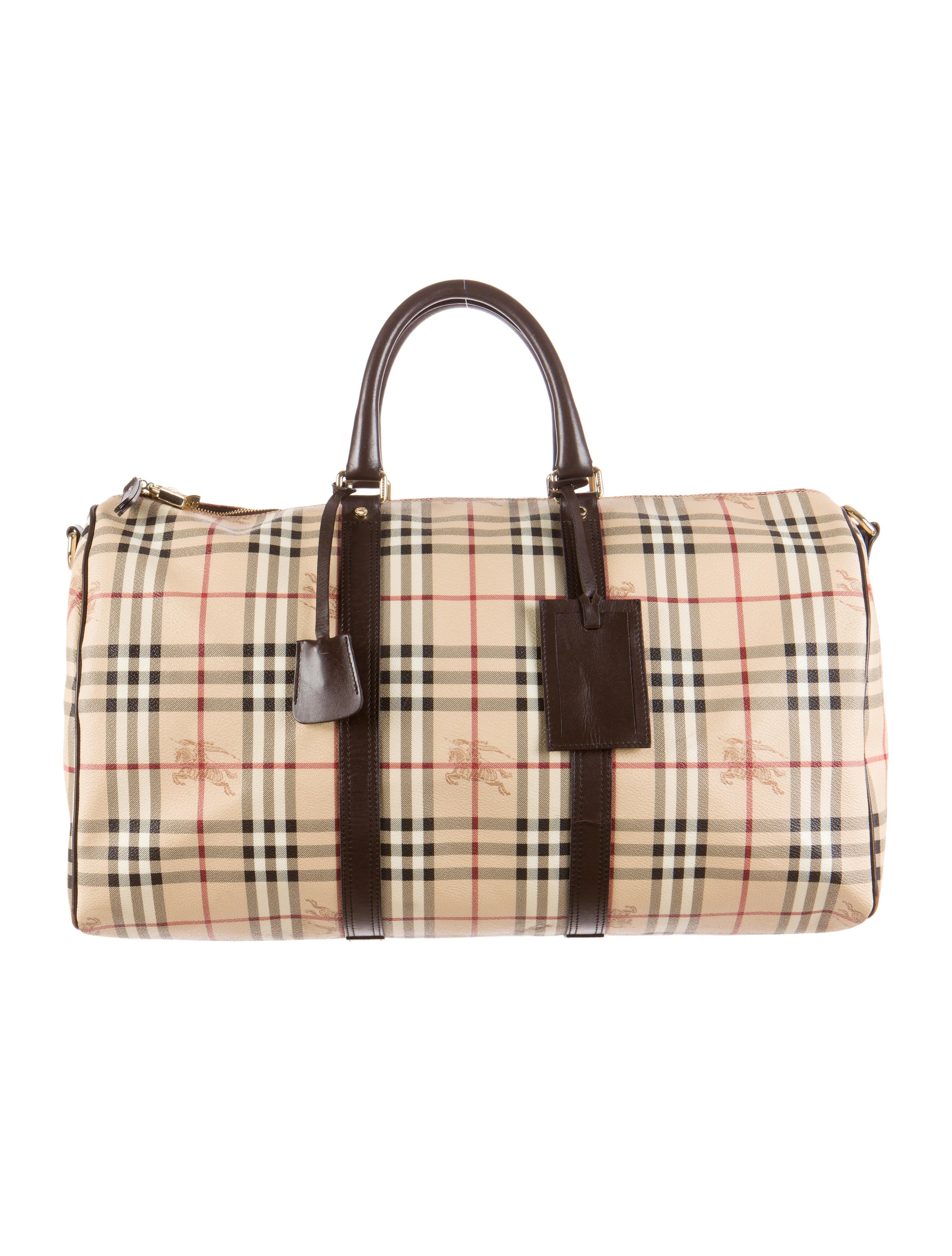 Burberry Haymarket Duffle Bag - Bags - BUR40812   The RealReal 5906f090f5