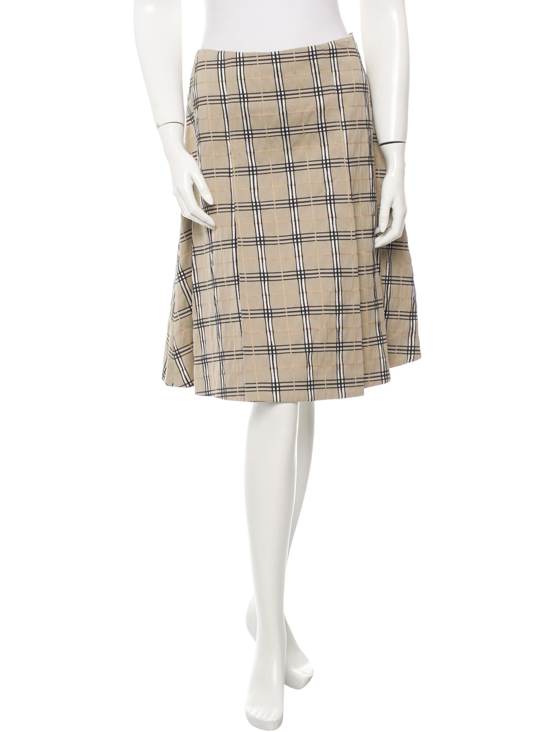 burberry pleated check skirt clothing bur44403