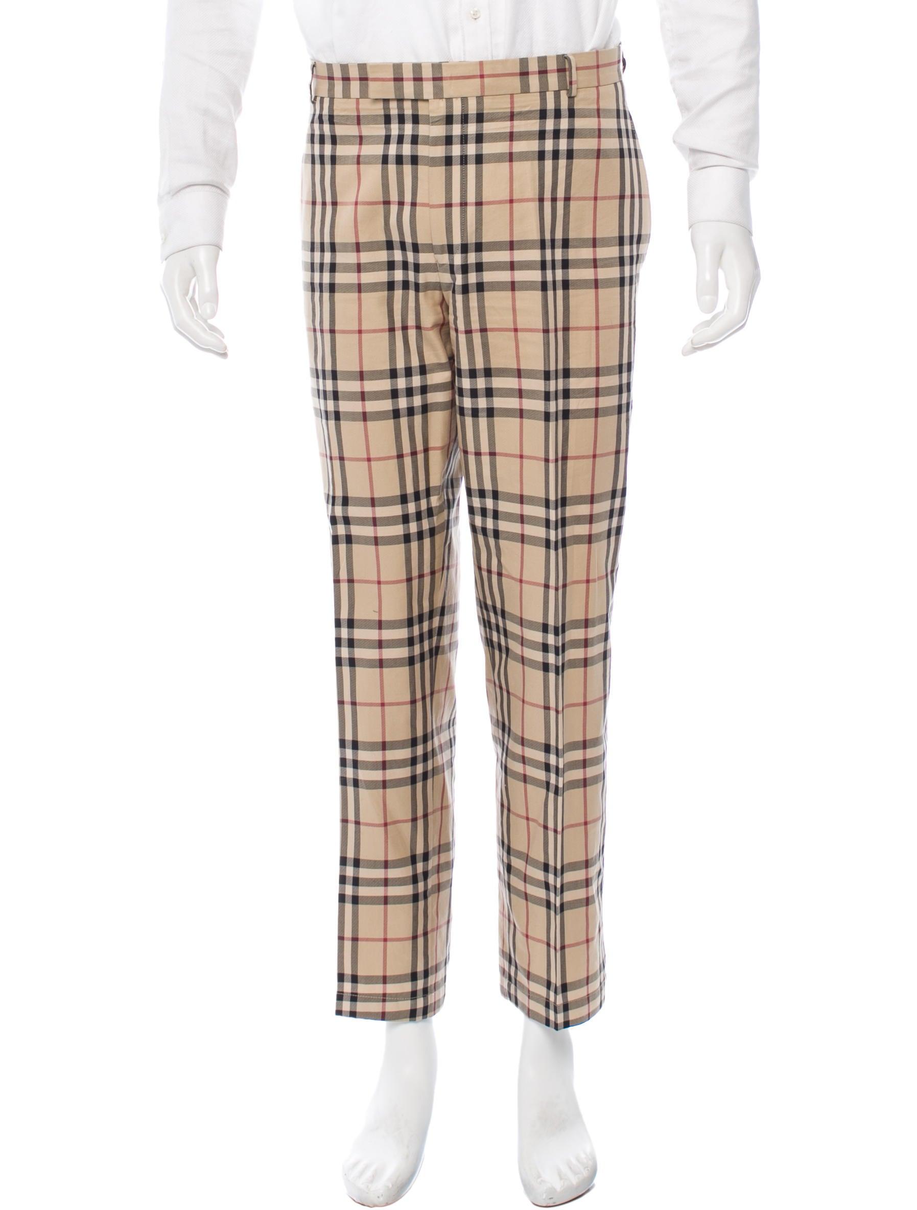 Burberry Nova Check Flat Front Pants Clothing Bur46216