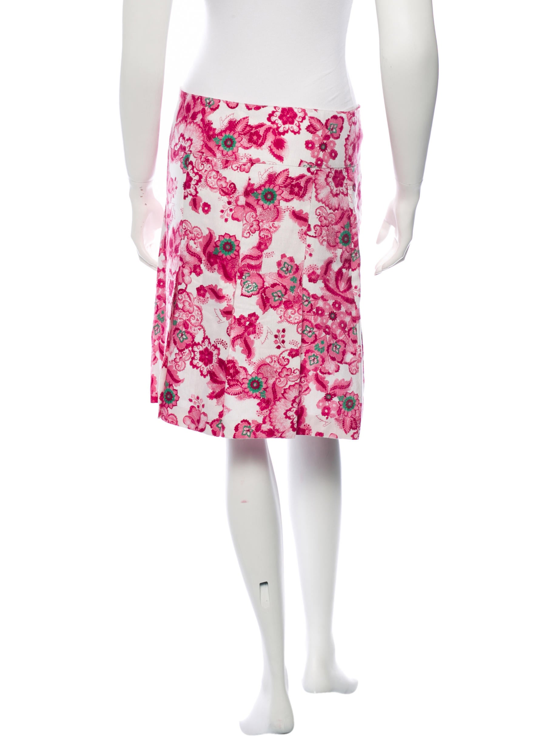 burberry floral print knee length skirt clothing