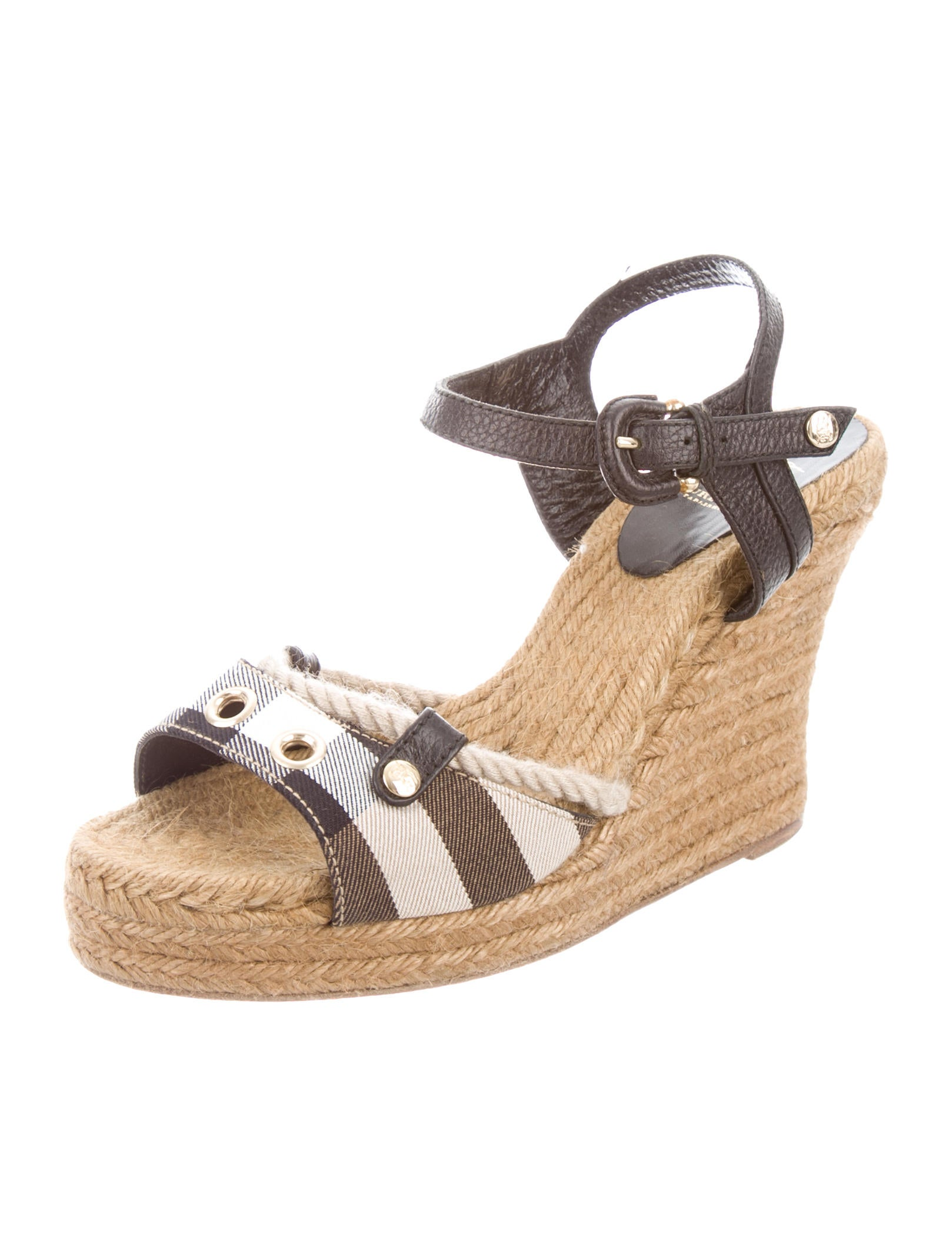 burberry check platform wedge sandals shoes