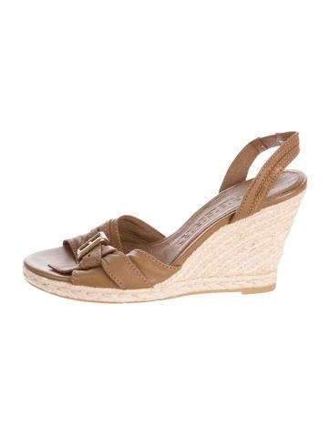 Burberry Buckle-Accented Leather Wedges None