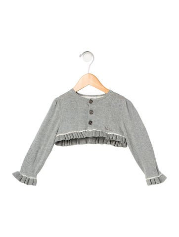 Burberry Girls' Metallic Ruffle Cardigan None