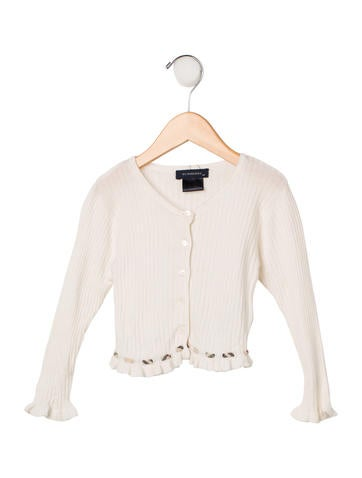 Burberry Girls' Long Sleeve Rib Knit Cardigan None