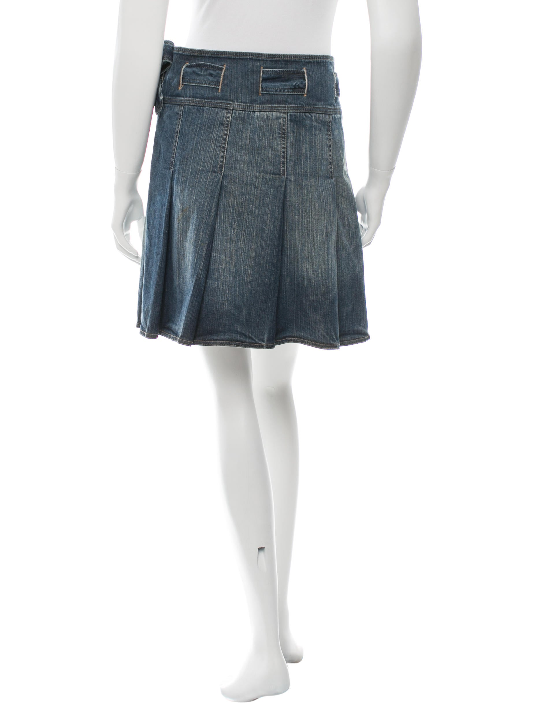 burberry pleated denim skirt clothing bur60315 the