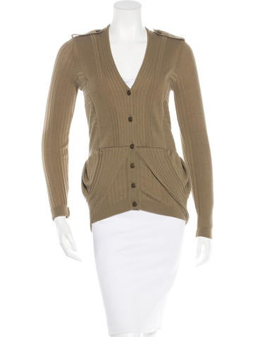 Burberry Virgin Wool Draped Cardigan None