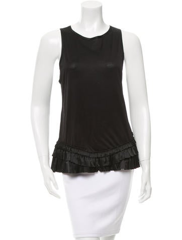 Burberry Tiered Satin-Accented Top None