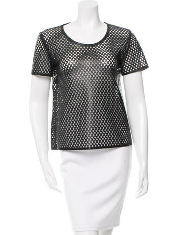 Burberry Leather Perforated Top None